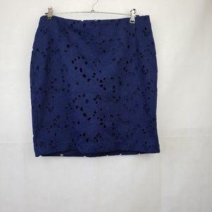 Banana Republic Blue FloralLace Mini Skirt Size 10